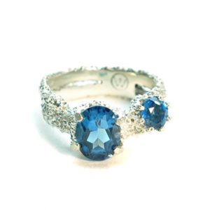 textured sunken eroded fused silver rings with london blue topaz