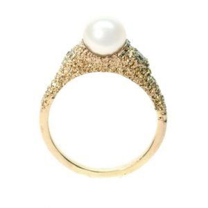 welfe jewellery jewelry sunken textured eroded gold ring with akoya pearl and champagne diamonds