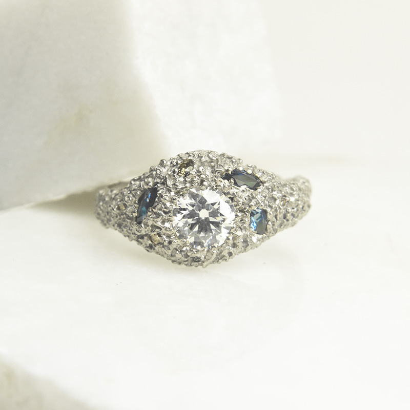 welfe commissions whirlpool ring 18ct white gold fair trade australian diamonds and sapphires