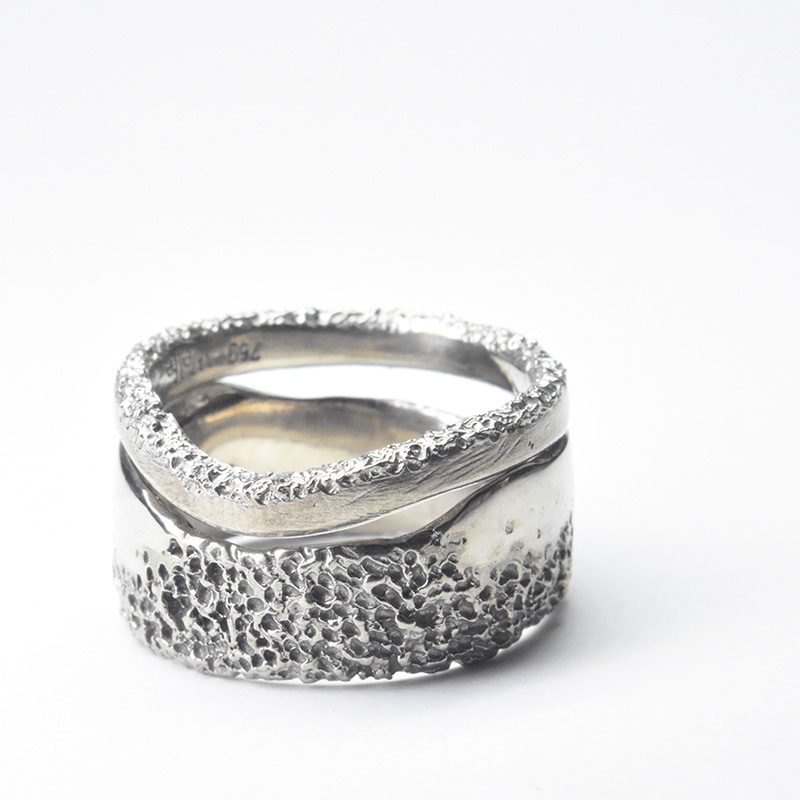custom wedding bands in eroded 18ct white gold by Welfe.