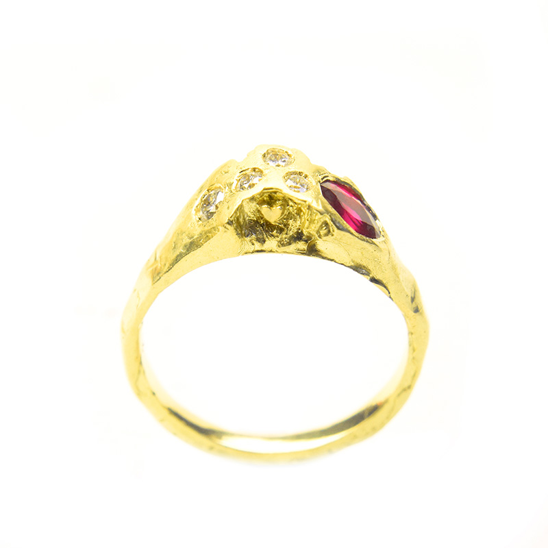 First Impressions Ring in 18ct gold with diamonds and ruby by Welfe.