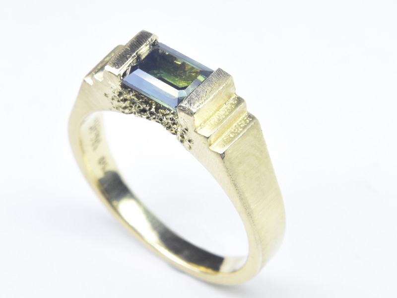 Bridge / Relic Ring custom engagement ring in 18ct gold with an Australian sapphire by Welfe.