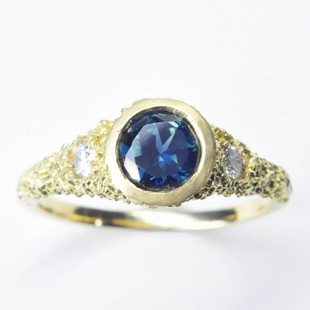 Two By The Pool Engagement Ring in eroded 18ct gold with diamonds and an Australian Sapphire by Welfe.