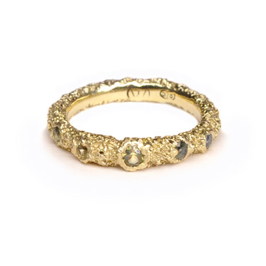 welfe jewellery jewelry 18ct yellow gold sunken eroded textured engagement ring with australian sapphires
