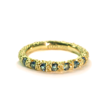 welfe jewellery jewelry 18ct gold sunken textured erdoded wedding ring with australian sapphires