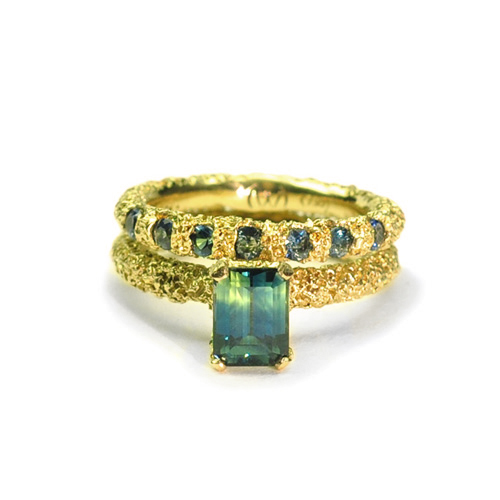 welfe jewellery jewelry textured sunken eroded 18ct yellow gold engagement ring with Australian sapphires
