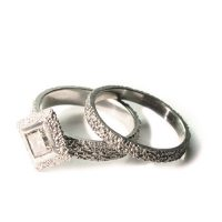 welfe jewellery jewelry textured sunken eroded geometric 18ct white gold engagement ring with champagne diamond