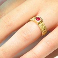 sunken eroded textured cube engagement ring 18ct gold with ruby