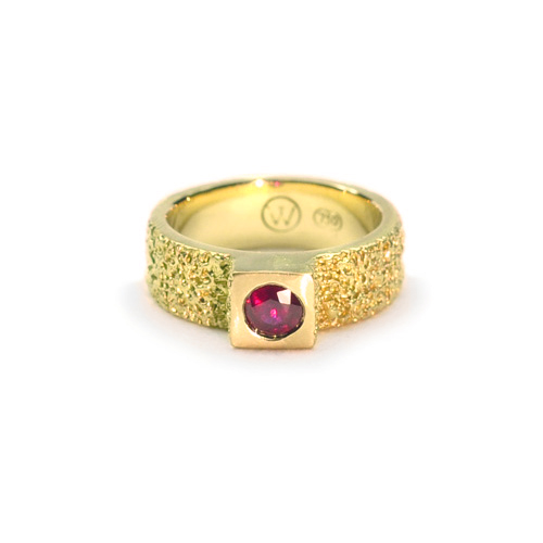 welfe jewellery jewelry textured eroded sunken cube engagement ring 18ct gold with ruby