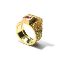 welfe jewellery jewelry textured sunken eroded geometric cube 18ct yellow gold engagement ring