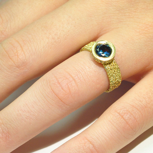 sunken halo engagement ring sapphire gold