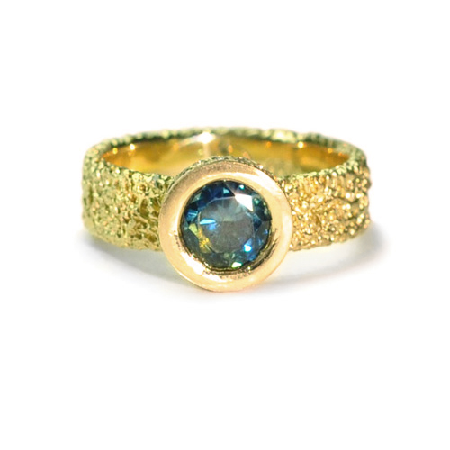 welfe jewellery jewelry textured sunken eroded geometric 18ct yellow gold engagement ring with Australian sapphires