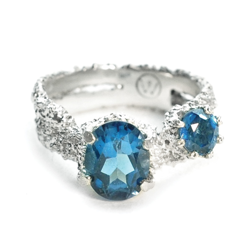 fused rings in eroded sterling silver with london blue topaz by Welfe.