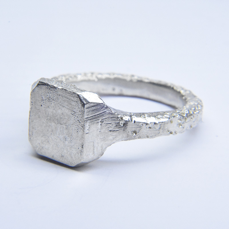 welfe jewellery rough carved square signet ring in sterling silver