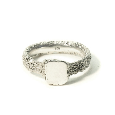 welfe jewellery jewelry textured sunken eroded square silver signet ring