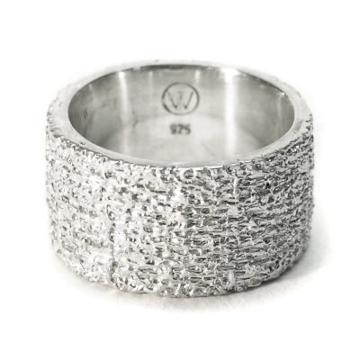 welfe jewellery jewelry textured sunken eroded 12mm wide silver ring