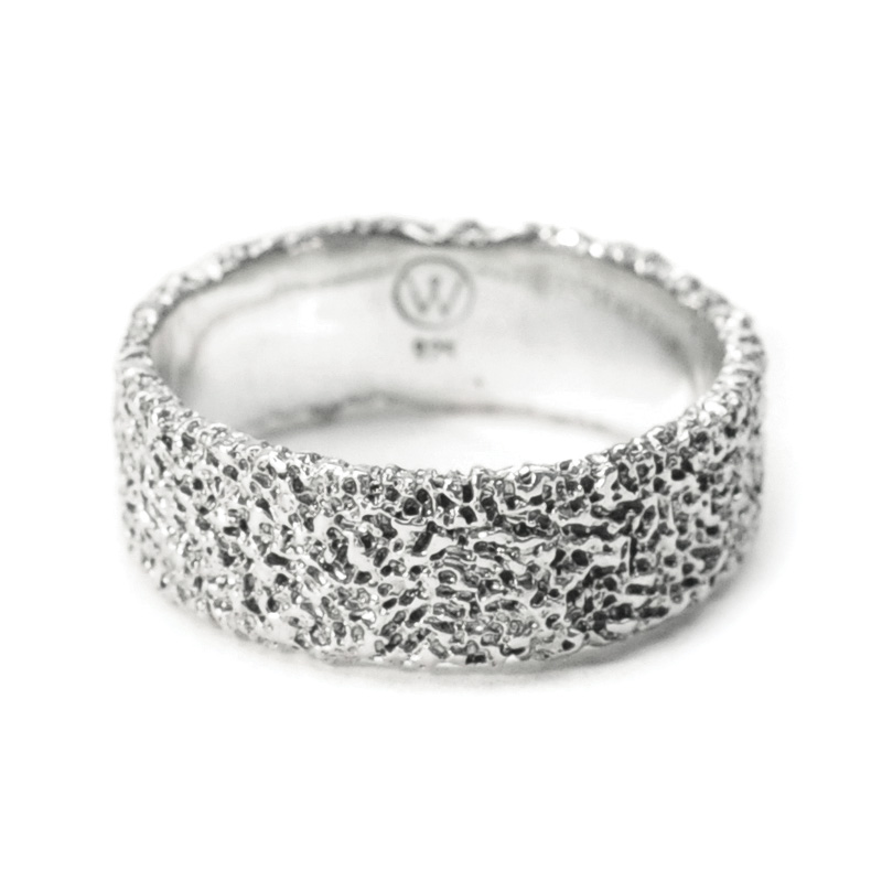 welfe jewellery jewelry textured sunken eroded 8mm wide silver ring