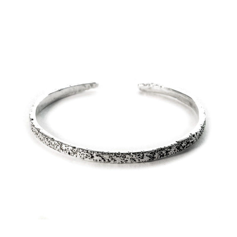 welfe jewellery eroded sterling silver cuff