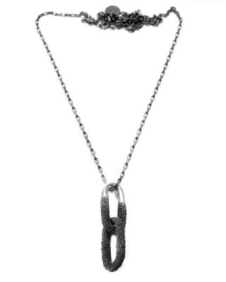 welfe jewellery submerged links necklace in polised and oxidised sterling silver