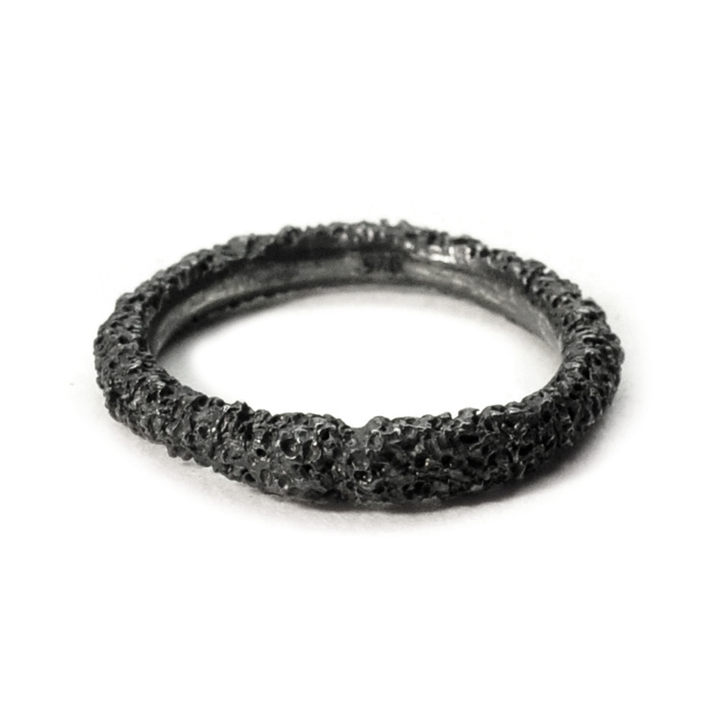 welfe jewellery jewelry textured sunken eroded sunken thin silver ring
