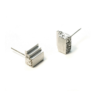 welfe jewellery jewelry textured sunken eroded geometric cube relic artefact silver stud earrings