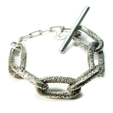 welfe jewellery jewelry textured sunken eroded chain links silver bracelet