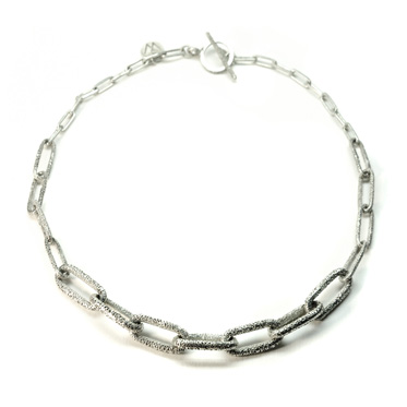 sunken texture eroded links silver choker necklace
