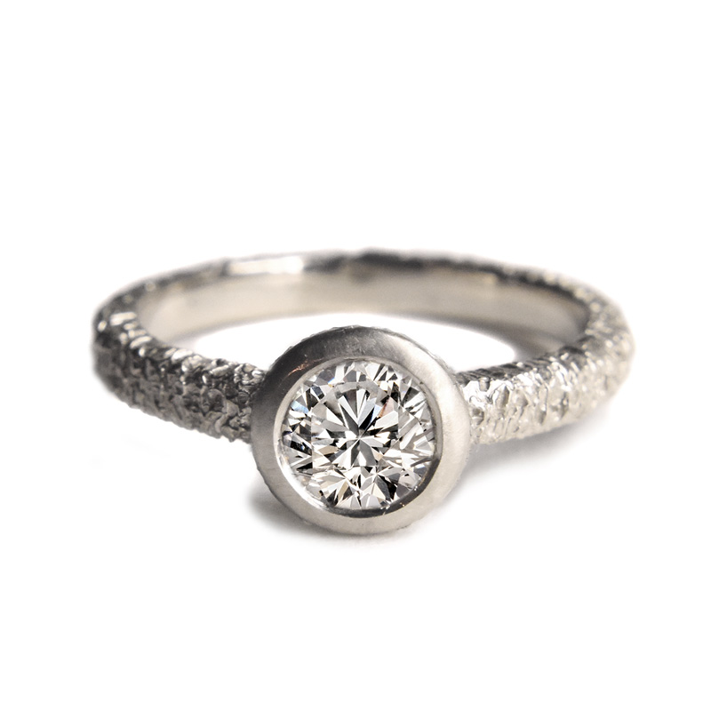 welfe 18ct white gold and 1ct white diamond textured ring