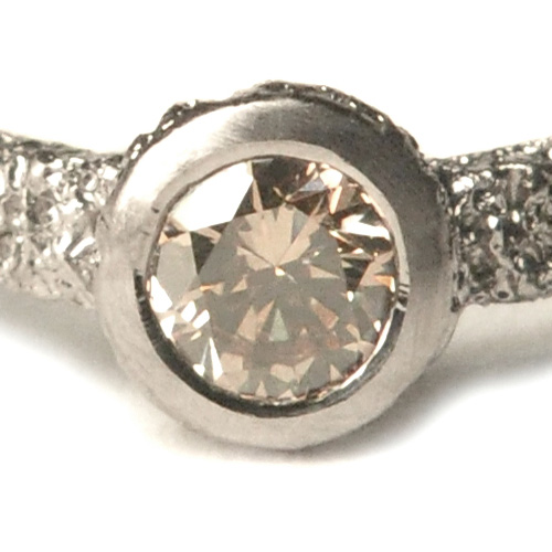 welfe jewellery jewelry 18ct white gold sunken textured erdoded solitaire engagement ring with australian champagne diamond