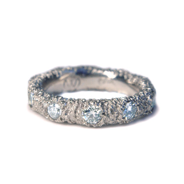 welfe jewellery textured eroded sunken 10 diamond 1ct 18ct white gold engagement wedding ring