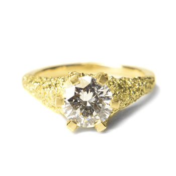 welfe jewellery textured eroded sunken 1ct diamond 18ct yellow gold engagement wedding ring