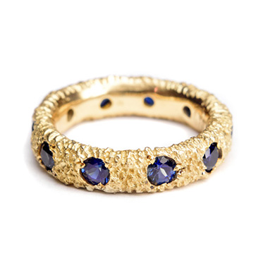 welfe jewellery textured eroded fine 18ct gold orbital sapphire ring