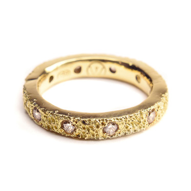welfe jewellery textured eroded fine 18ct gold 10X diamond stacker ring