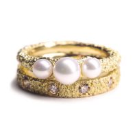 welfe jewellery textured eroded fine 18ct gold celestial pearl diamond ring