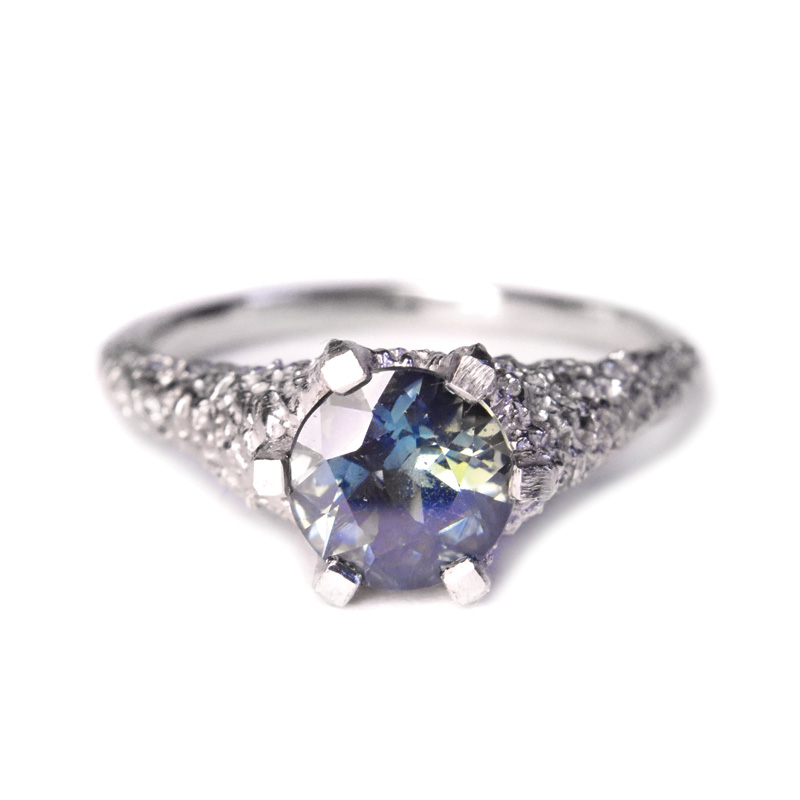 welfe jewellery jewelry textured sunken eroded 18ct white gold australian sapphire ring