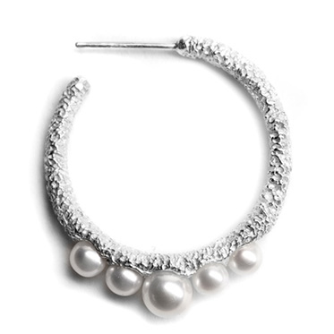 welfe jewellery textured eroded fine silver pearl celestial loop earrings