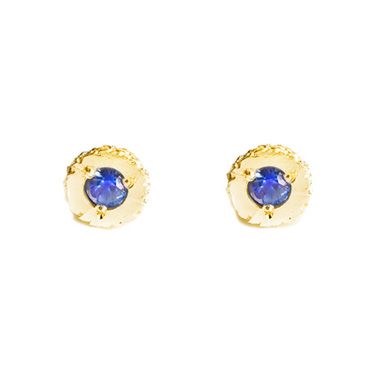 welfe jewellery textured eroded fine gold sapphire stud earrings