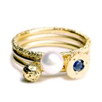 welfe jewellery textured eroded fine gold sapphire crater ring