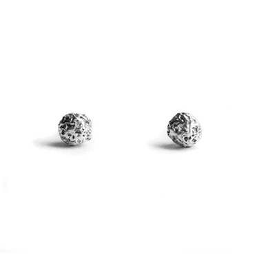 welfe jewellery textured eroded fine silver stud earrings