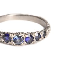 welfe jewellery jewelry textured sunken eroded 18ct white gold australian sapphires ring
