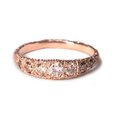 welfe jewellery jewelry textured sunken eroded 18ct rose gold australian champagne diamonds ring