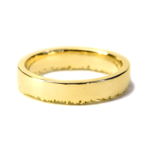 welfe designer gold jewellery jewelry 18ct gold sunken textured erdoded edge wedding band 4mm wide