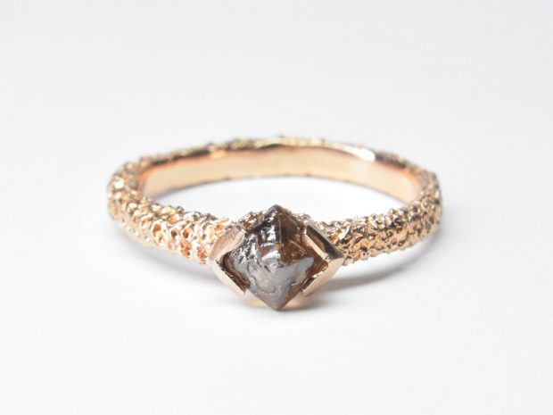 Rarer Than Diamonds exhibition ring in eroded 18ct rose gold with Australian natural diamond by Welfe.