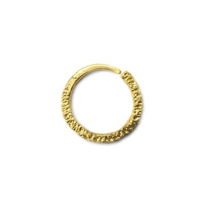 24ct sunken hoop eroded gold earring