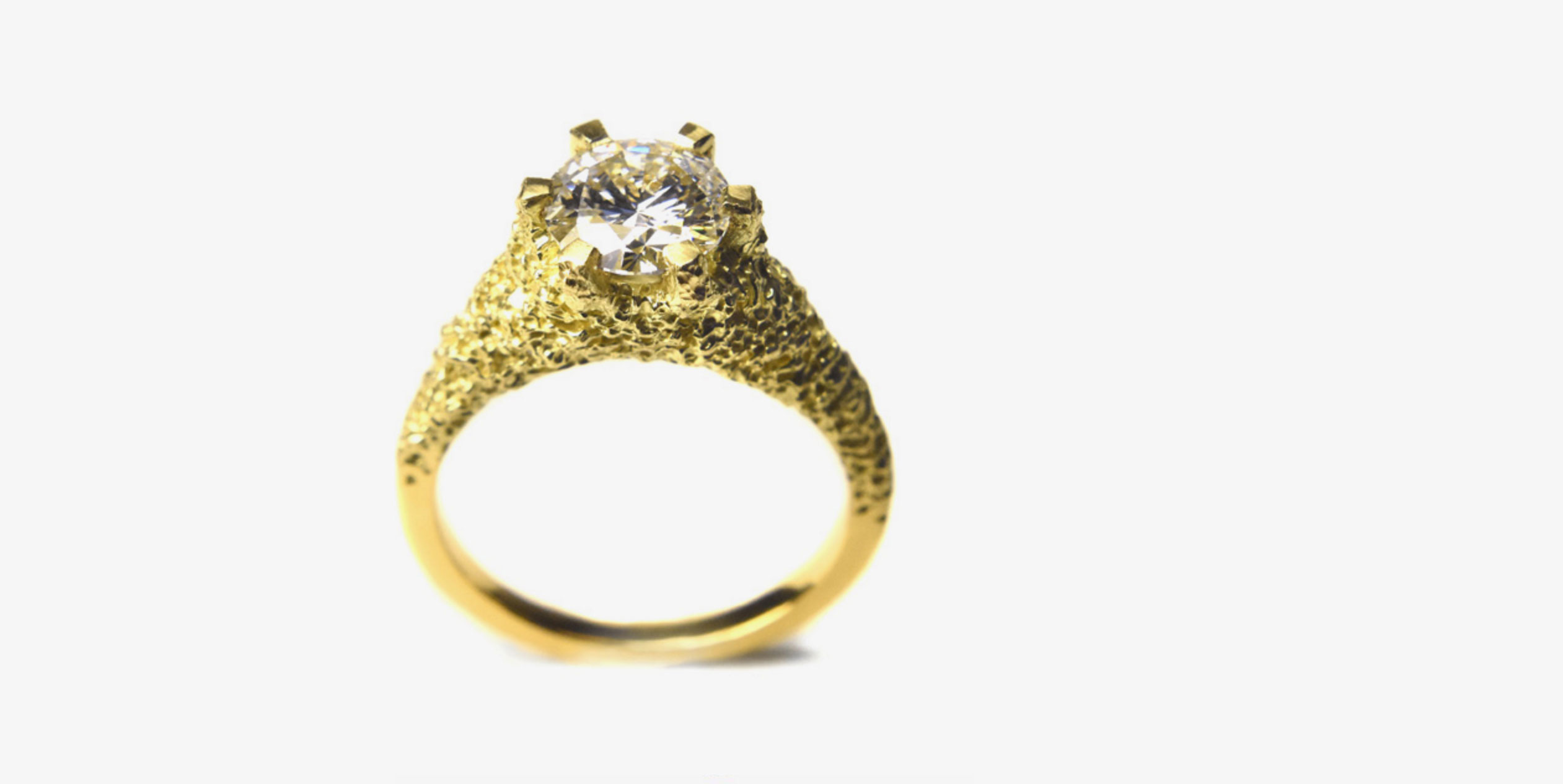 welfe jewellery 1ct diamond eroded gold engagement ring