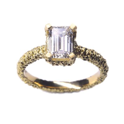 welfe jewellery lost heirloom eroded gold engagement ring with white diamond