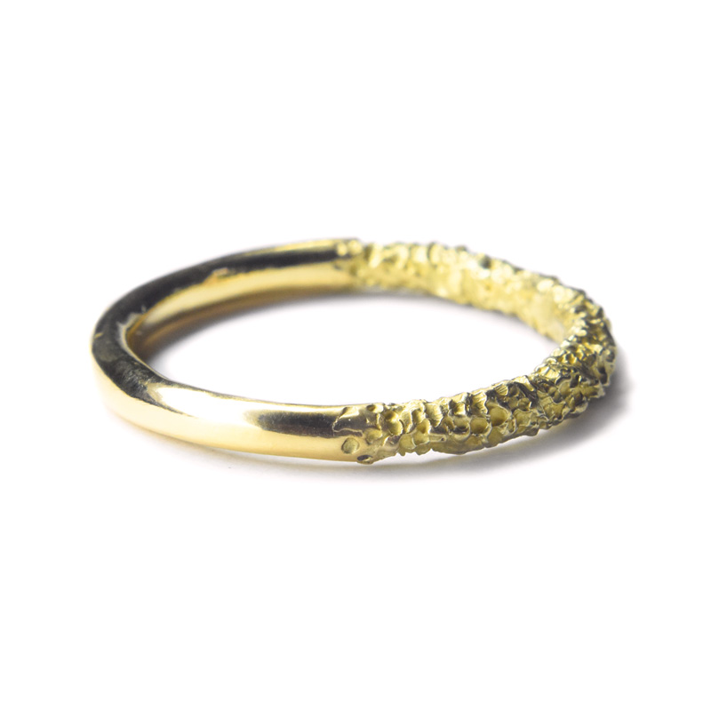 50/50 half eroded half polished gold ring