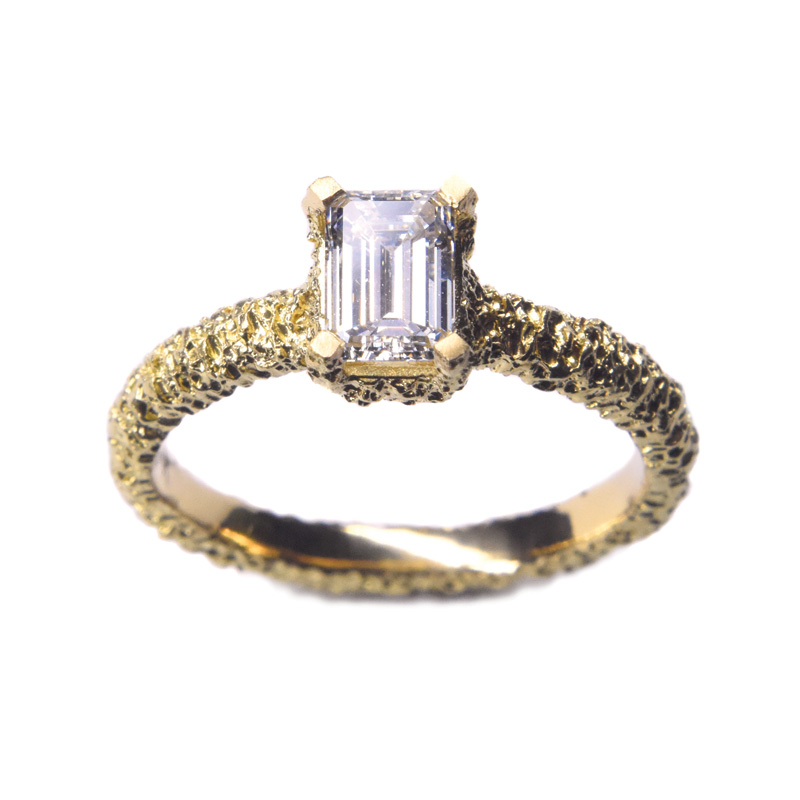 welfe jewellery lost heirloom eroded gold engagement ring with 0.7ct white diamond