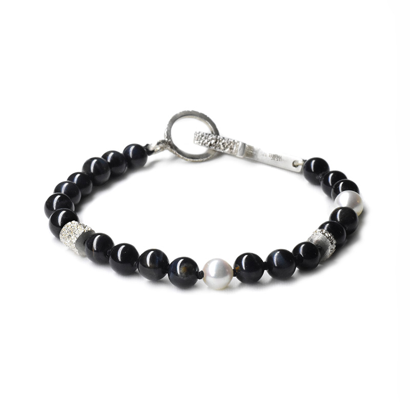 welfe jewellery third eye black beaded bracelet with pearl