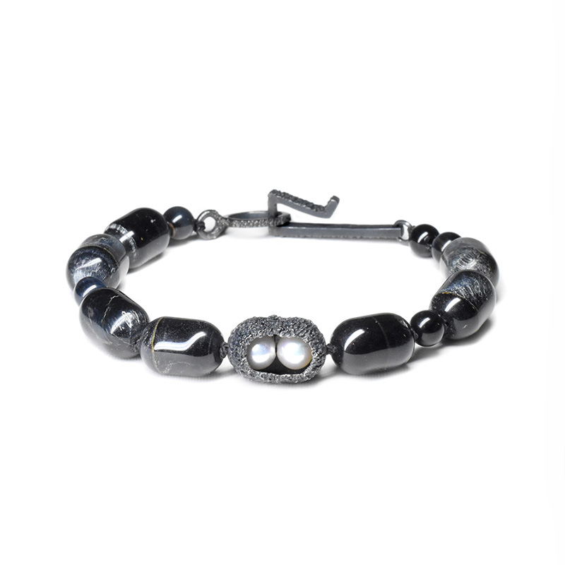 welfe jewellery Pod Bracelet hawkeye beads with oxidised silver and akoya pearls